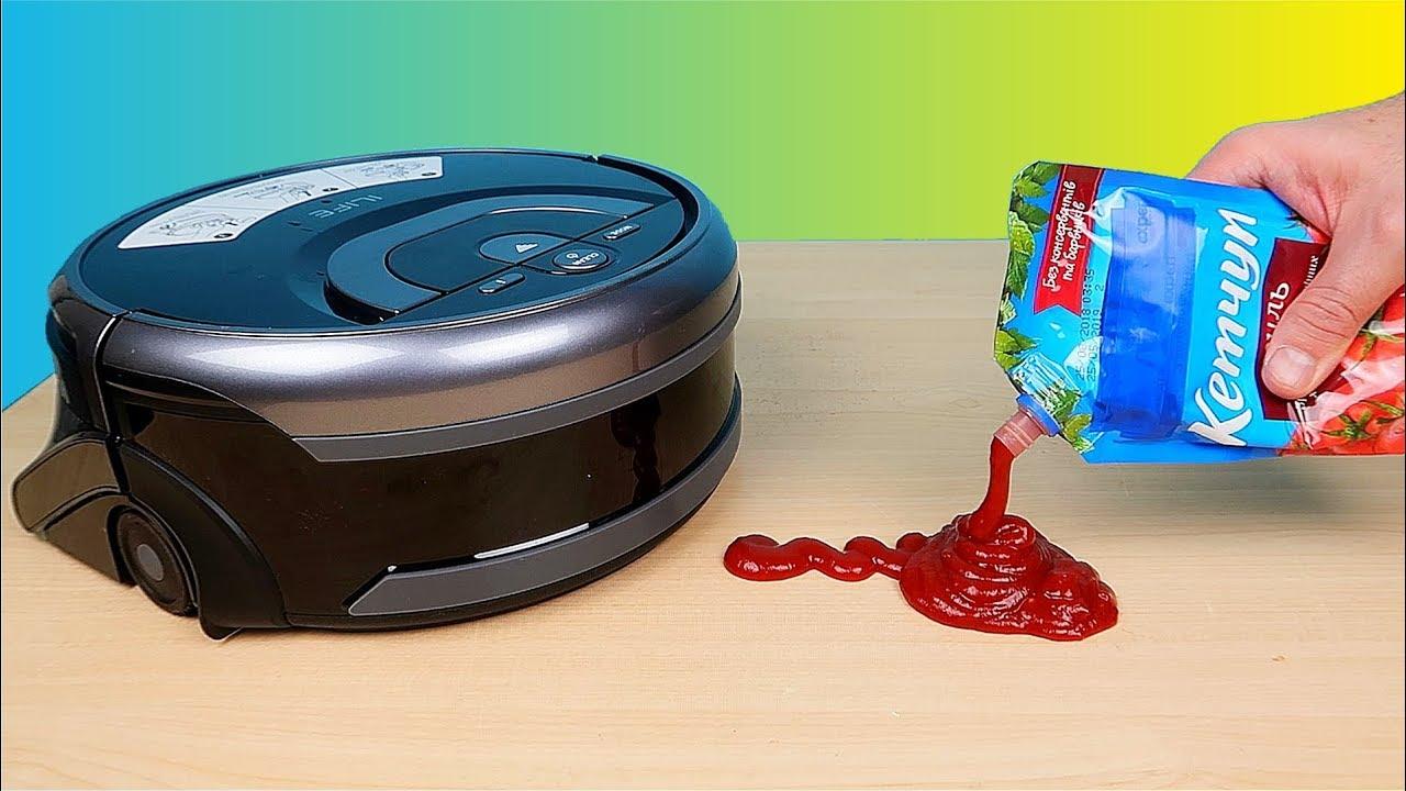 Робот мойщик полов против Кетчупа Моющий робот пылесос ILIFE W400 Робот для мытья полов alex boyko